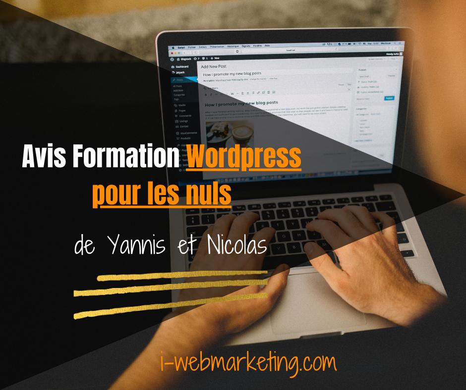 La formation WordPress pour les nuls de Yannis et Nicolas pour monter un blog sans connaissance technique